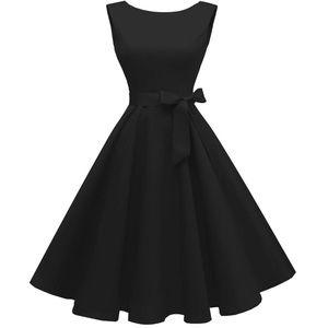 Vintage Boatneck 1950s Sleeveless Swing Prom Dress